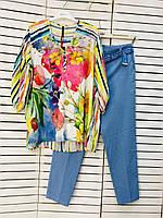 Блузка женская белая с цветами Grandi 21-6039