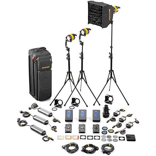 Dedolight DLED4.1-D Daylight LED 3-Light Master Kit (Mains & Battery Operation) (SLED3-D-M)