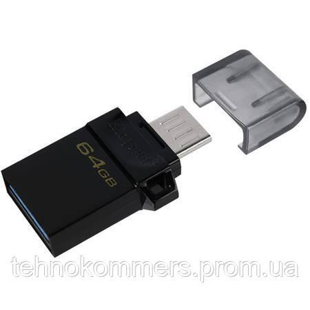 Флеш-накопичувач Kingston USB 3.2 Gen 1 (USB 3.0) DataTraveler MicroDuo 64GB Black, фото 2