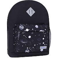 Черный тканевый городской рюкзак молодежный на 17 л. рюкзак  среднего размера унисекс, однотонный, фото 1