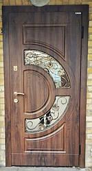 Двері вхідні Оріон зі склом і ковкою серії Прайм ТМ Каскад