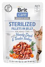 Влажный корм для стерилизованных кошек Brit Care (Брит Кеа) Cat утка+индейка, 85 г