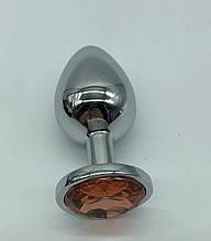 Большая интимная анальная игрушка из нержавеющей стали, металлическая анальная пробка с камнем кристалом Orang