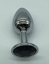 Большая интимная анальная игрушка из нержавеющей стали, металлическая анальная пробка с камнем кристалом black