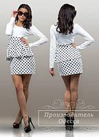 Красивое стильное короткое платье с баской в горох. Арт-3858/31.