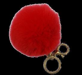 Брелок хутряний кулька великий червоний