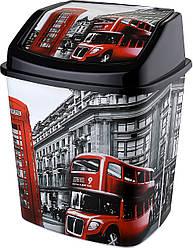 Ведро для мусора ELIF Plastic Турция с рисунком Лондон 7л., с крышкой, Е-341