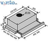 Вбудована, телескопічна кухонна витяжка Ventolux Garda 60 Inox (1000) IT нержавіюча сталь, фото 2