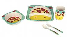 Набор детской бамбуковой посуды Stenson 5 предметов MH-2770-1 Жираф, КОД: 2452534