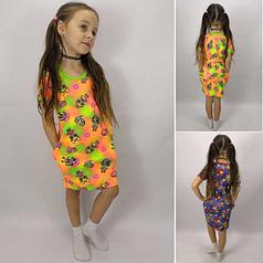 Летнее стильное трикотажное платье с карманами для девочки, короткий рукав, с Лолами