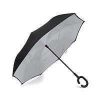 Зонт обратного сложения, антизонт, умный зонт, зонт наоборот Up Brella Серый 193946