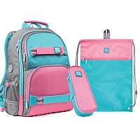 Набір рюкзак + пенал + сумка для взуття 702 рожево-блак Wonder Kite