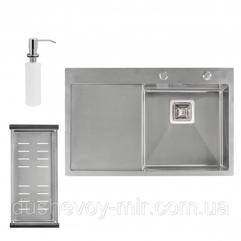 Набор 3 в 1 Qtap кухонная мойка DK7850R 3.01.2 мм Satin + сушилка + дозатор для моющего средства