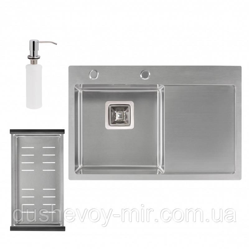 Набір 3 в 1 Qtap кухонна мийка DK6845L 3.01.2 мм Satin + сушарка + дозатор для миючого засобу
