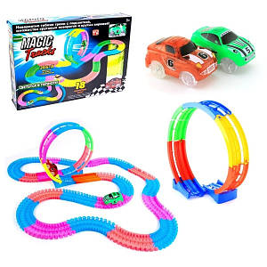 Детский Автомобильный гоночный трек светящийся гибкий Magic Tracks 220 деталей, Игрушечная дорога Toys