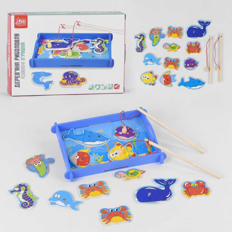 """Деревянная магнитная рыбалка 68815 (40)  12 элементов, 2 удочки, """"FUN GAME"""" для детей от 3 лет"""