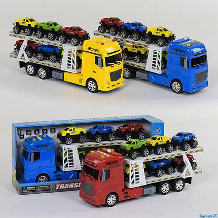 Детский трейлер автовоз  с набором машинок 666-65 F инерционный, со звуковыми эффектами, фото 2