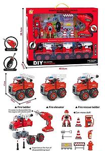 Конструктор набор Пожарной спецтехники 699-60 с дрелью на батарейке и отверткой, Пожарный набор Toys