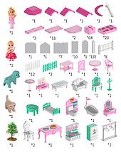 Детский игрушечный высокий 3-х этажный дом с лестницей и спиральным пандусом для кукол с мебелью, фото 3