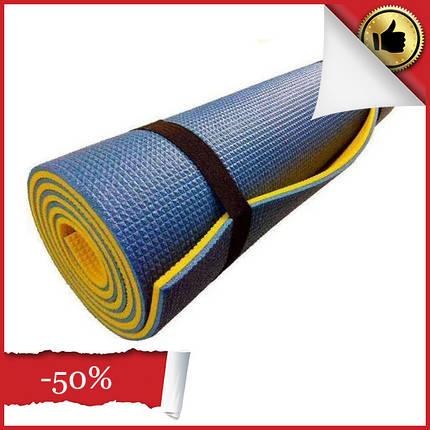 Каремат двошаровий 1800х600х9 мм туристичний, Фітнес килимок для йоги, Килимок для фітнесу і туризму, фото 2