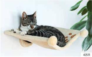 Гамак для кота (плюш) с креплением к стене 42х41х15см бежевый