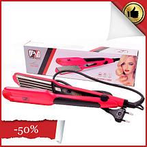 Випрямляч для волосся з гофре PM-1221, Керамічний прасочку для волосся, Велике гофре, Прилад для укладання, фото 2