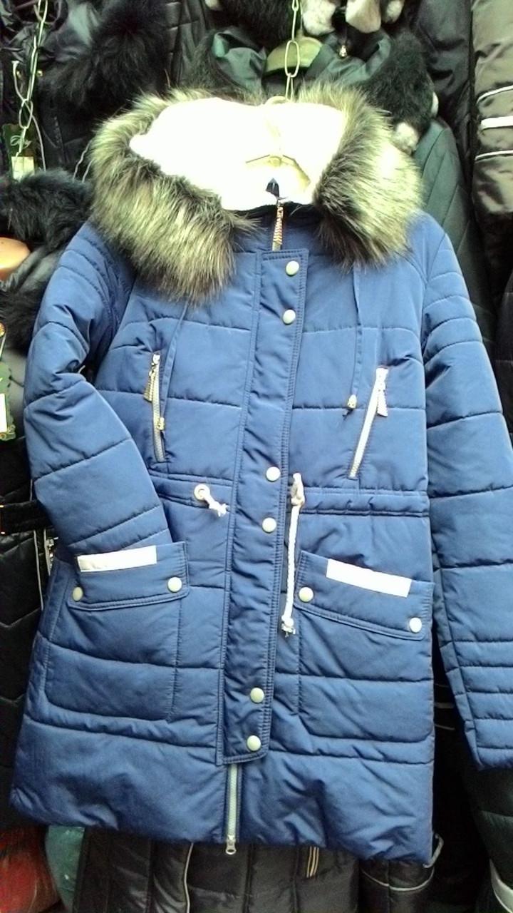 Женская зимняя куртка Жанна с мехом синяя
