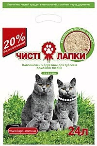 Чисті лапки 6 кг (24 л) - наповнювач для котячого туалету