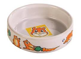 Миска для кролика 300мл/ Ø 11,5см, керамика с рисунком