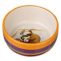 Миска керамічна для кроликів, 250 мл / Ø 11 см, різнобарвна / кремова