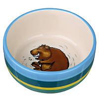 Миска керамічна для морських свинок, 250 мл / Ø 11 см, різнобарвна / кремова