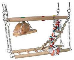 Лестница для хомяка подвесная двойная с веревкой 27,5 х 10,5 х 16см, дерево, дерево, дерево