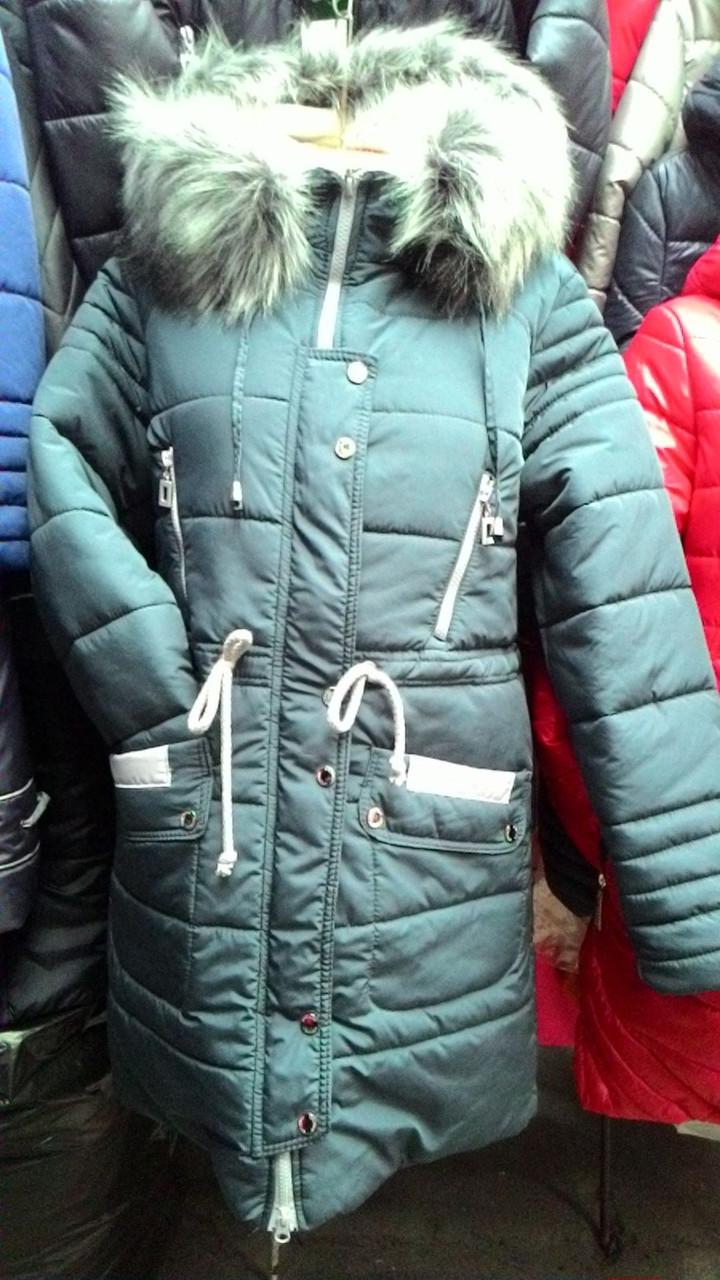 Женская зимняя куртка Жанна с мехом темно-бирюзовая