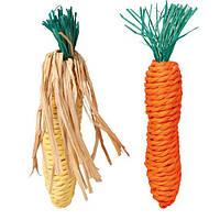 Набор игрушек для грызунов Морковь и Кукуруза 15 см, сизаль, 2 шт