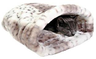 Лежак-Тоннель для кошки Leila 46 х 33 х 27 см, плюш, бежевый/белый