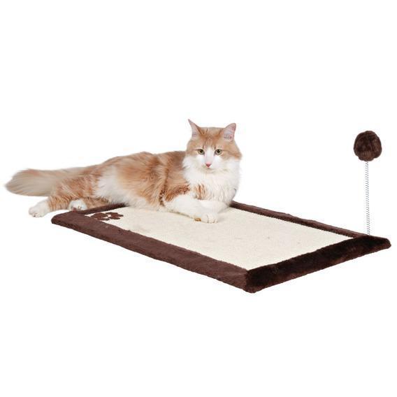 Когтеточка-коврик с игрушкой, 70х45 см, темно-коричневый