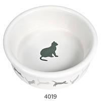 Миска для кошки с рисунком Кошка , 0,25 л /ø 11 см, керамика