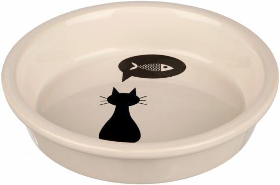 Миска керамическая Кошка 0,25 л/ø 13 см, белая