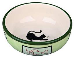 Миска керамічна для кішки 0,35 л / ø 12.5 см, Кольори: в ас. (Зелений, коричневий, червоний, синій)