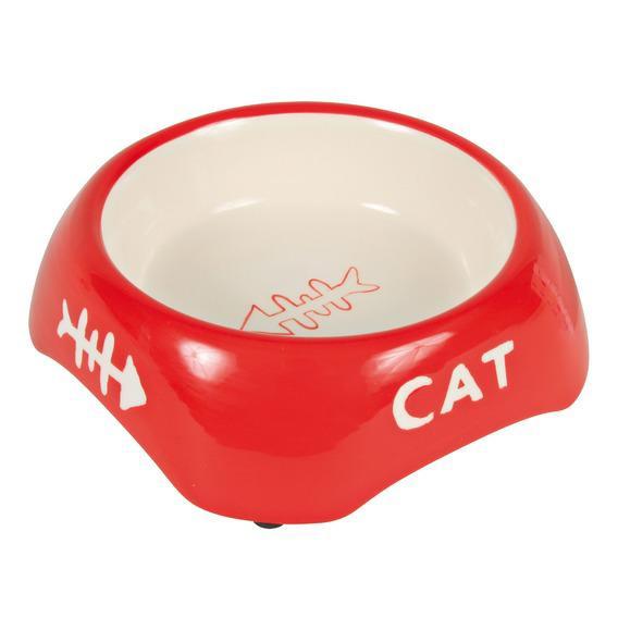 Миска керамічна для кішки, 0,2 л / ø 13 см, з малюнком риб'яча кістка