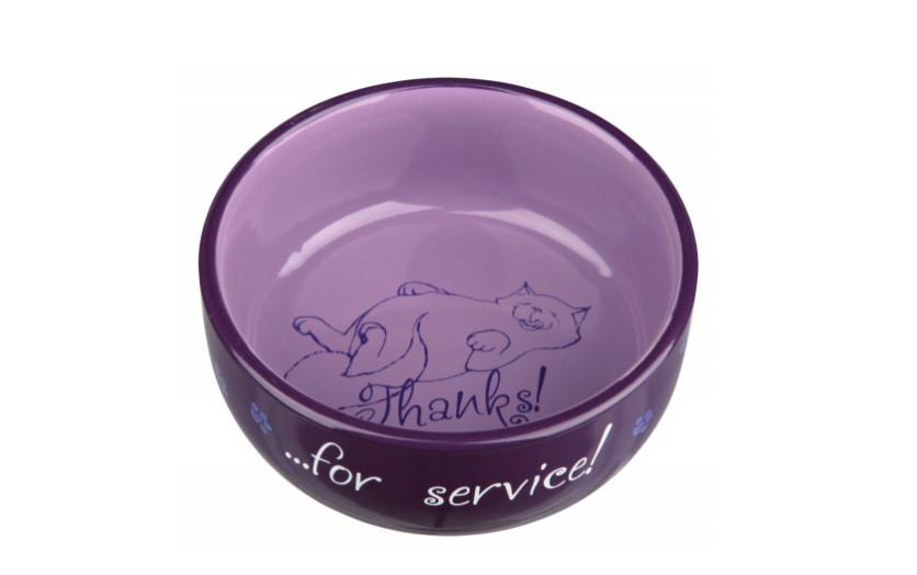 Миска керамическая для кошки, 0,3 л/ø 11 см, Thanks for Service , цвета в ассортименте