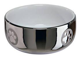 Миска керамічна, 0,3 л / ø 11 см, срібний / білий