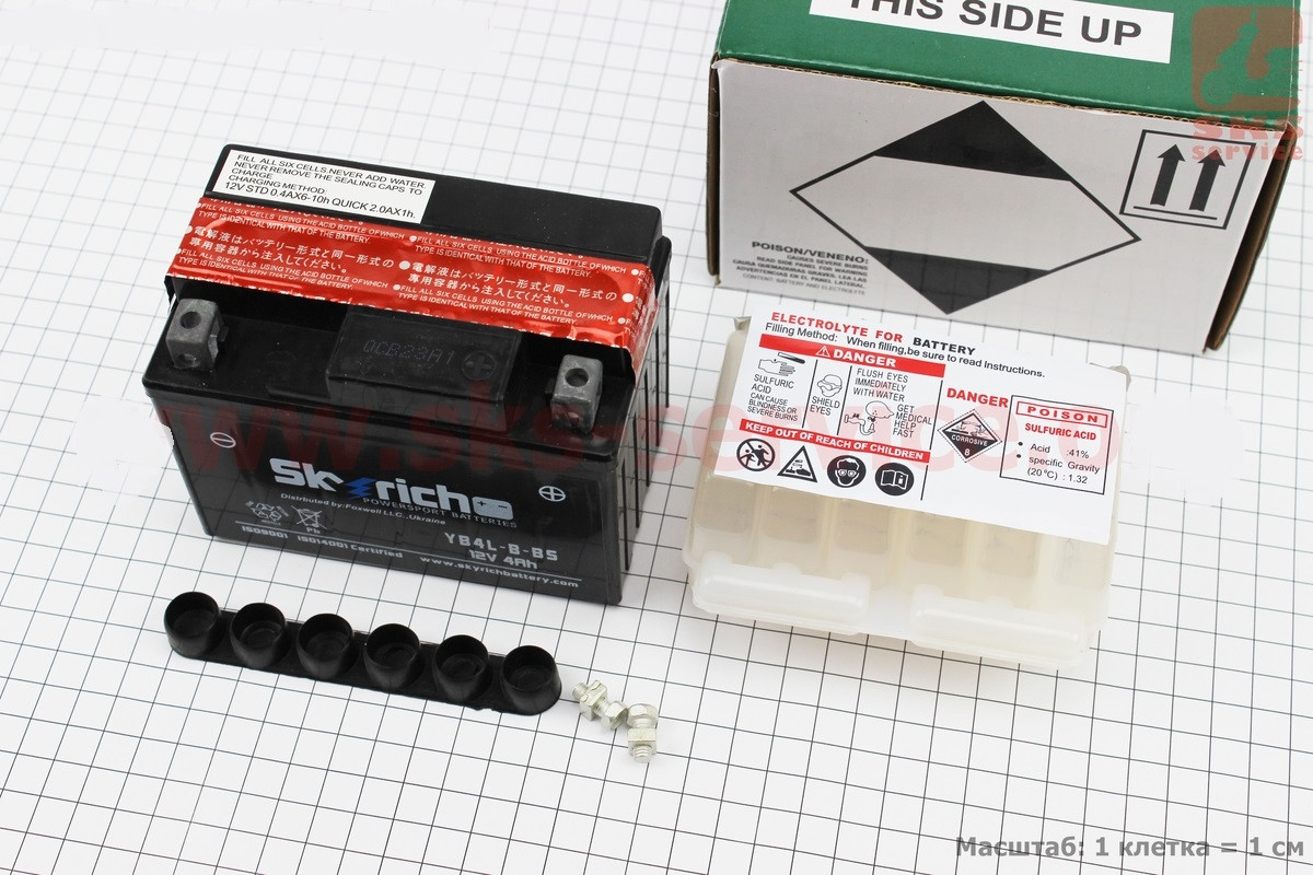 Аккумулятор 4Аh YB4L-B-BS кислотный (L120*W70*H90mm), от 8шт -3%