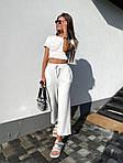 Жіночий костюм двійка: топ з імітацією кісточок + укорочені брюки, фото 2
