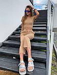 Жіночий костюм двійка: топ з імітацією кісточок + укорочені брюки, фото 4