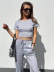 Жіночий костюм двійка: топ з імітацією кісточок + укорочені брюки, фото 5