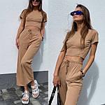 Жіночий костюм двійка: топ з імітацією кісточок + укорочені брюки, фото 6