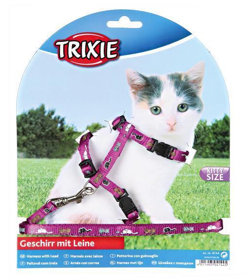 Шлейка для котят, нейлон 21-34см/8 мм х 1,20 м (4 цвета)