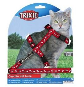 Шлейка з повідцем для кішки (4 кольори) 35-45см / 10мм / 1.20 м, нейлон з малюнком