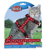 Шлейка з повідцем для кішки (4 кольори) 35-45см / 10мм / 1.20 м, нейлон з малюнком, фото 1
